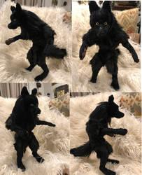 Black Werewolf Soft Sculpture Poseable OOAK figure