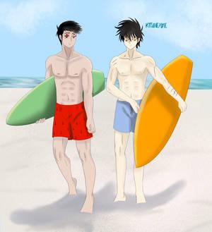 Beach scene Dokuga and Tetsujo
