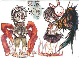 Tokyo Ghoul Chibi Set #1 by luo-chan