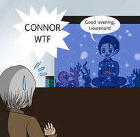 Connor in fish tank  by Nibuihime