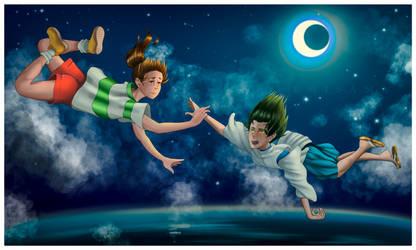flying under the moon (SPIRITED AWAY) by Emisama