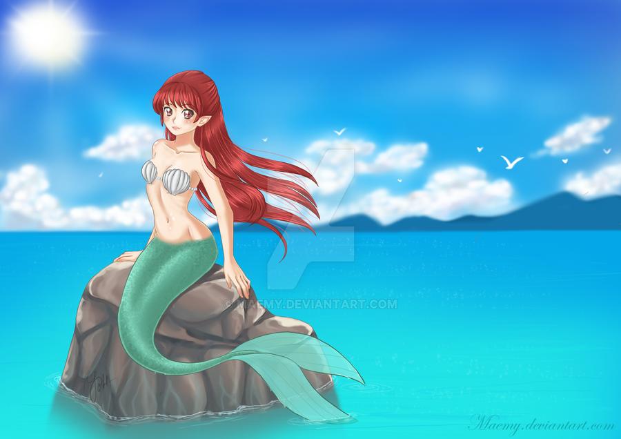 Mermaid on the sea roc... Fantasy Mermaids On Rocks