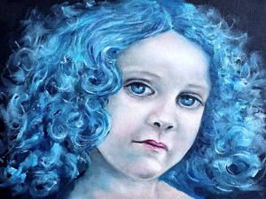 Blue little girl oil painting