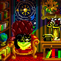 The Scholar's Room v.5 With Cat and Light