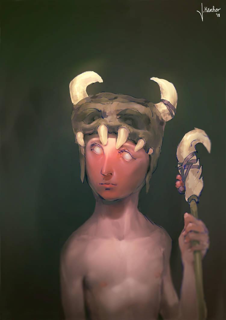Tribal Warrior Illustration by JanKaercher