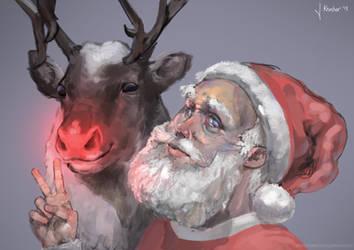 Santa and Rudolph Selfie by JanKaercher