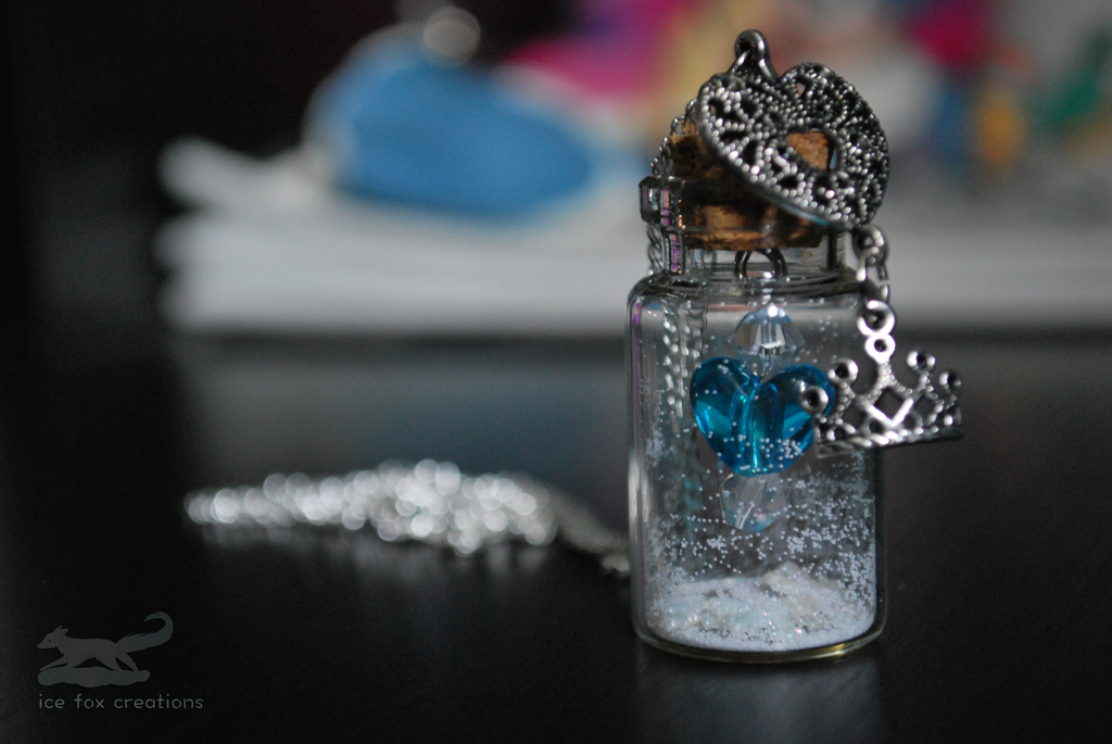 Frozen/Snow Queen-Inspired Glass Bottle Necklace by antarctic-storm ...
