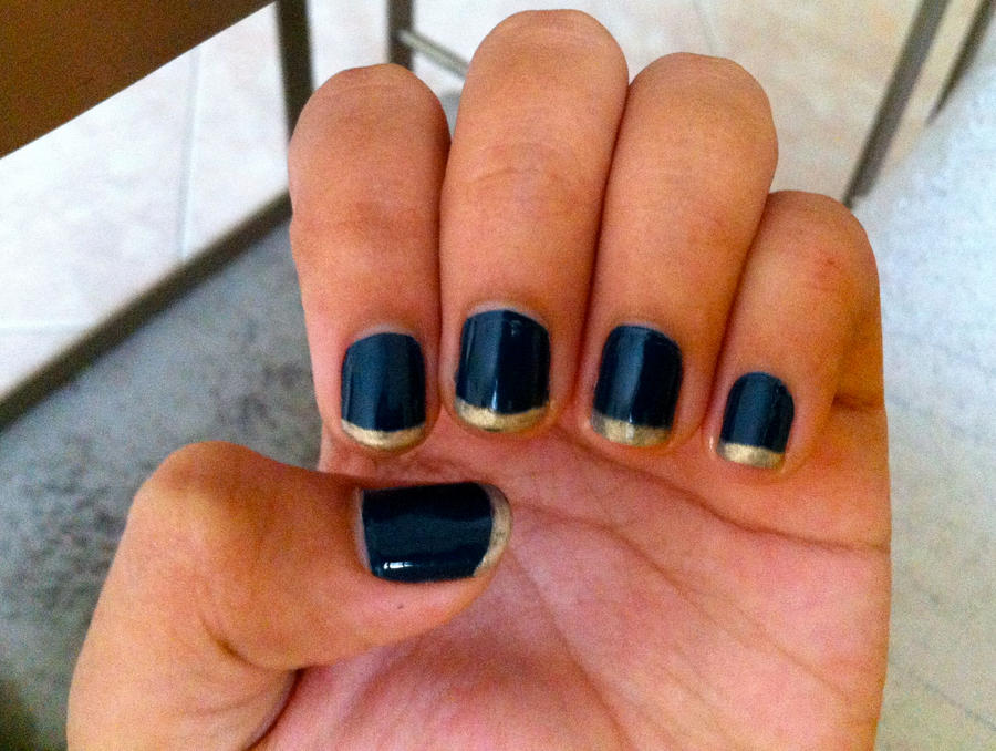 Navy Blue Nails with Gold Tips by inginging on DeviantArt