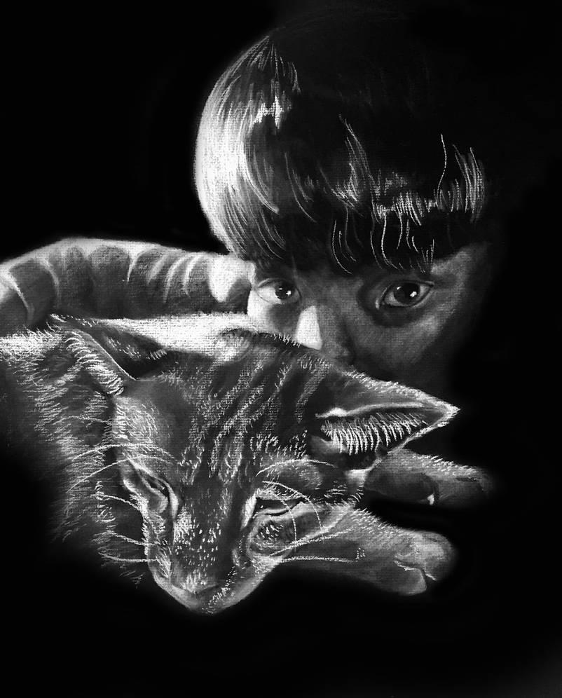White charcoal portrait by appleteatae on deviantart