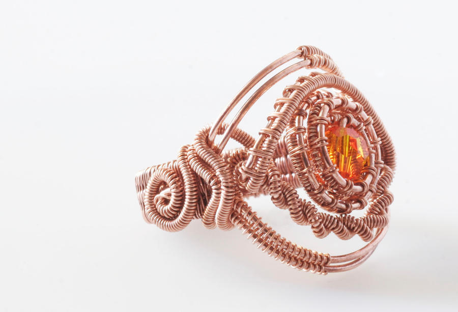 fire opal swarovski wire wrapped copper ring by agutara on DeviantArt