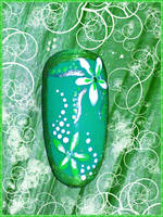 Green theme nail art by Pocaita