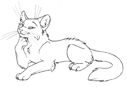 Line Art Of Cat : Restored cat lineart by girl on deviantart