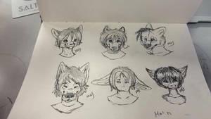 My sketchbook - All dem headsss