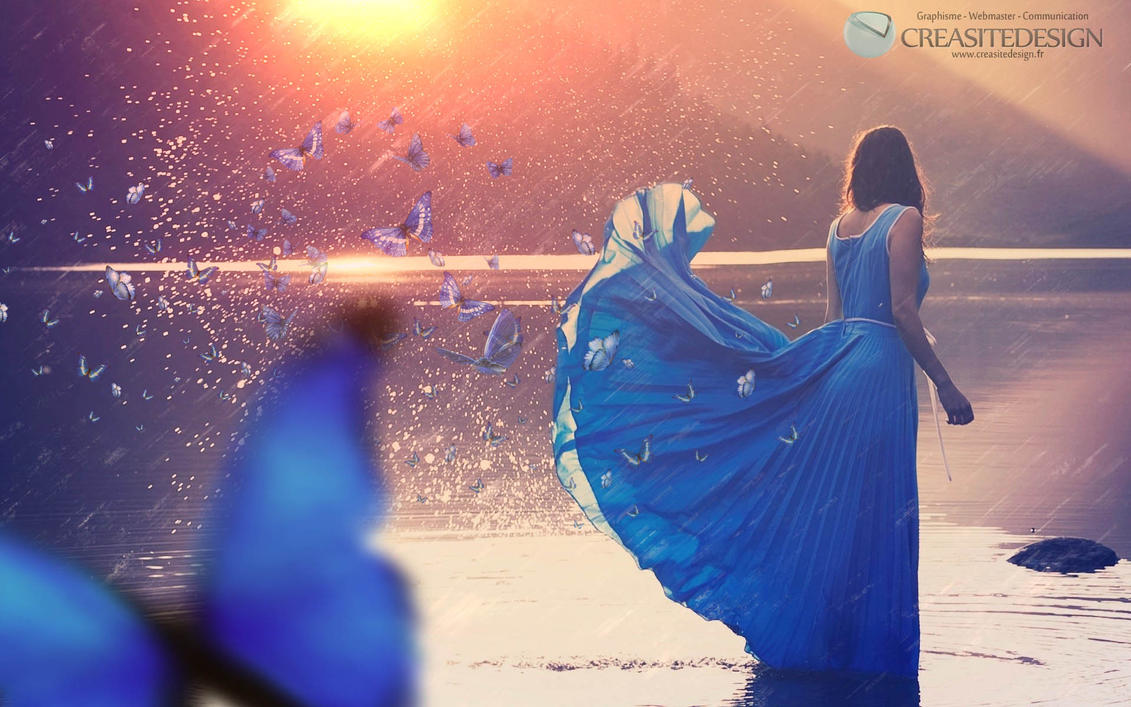 Blue Butterfly girl by creasitedesign