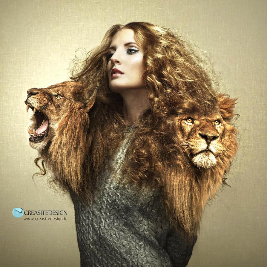 girl portrait lion by creasitedesign