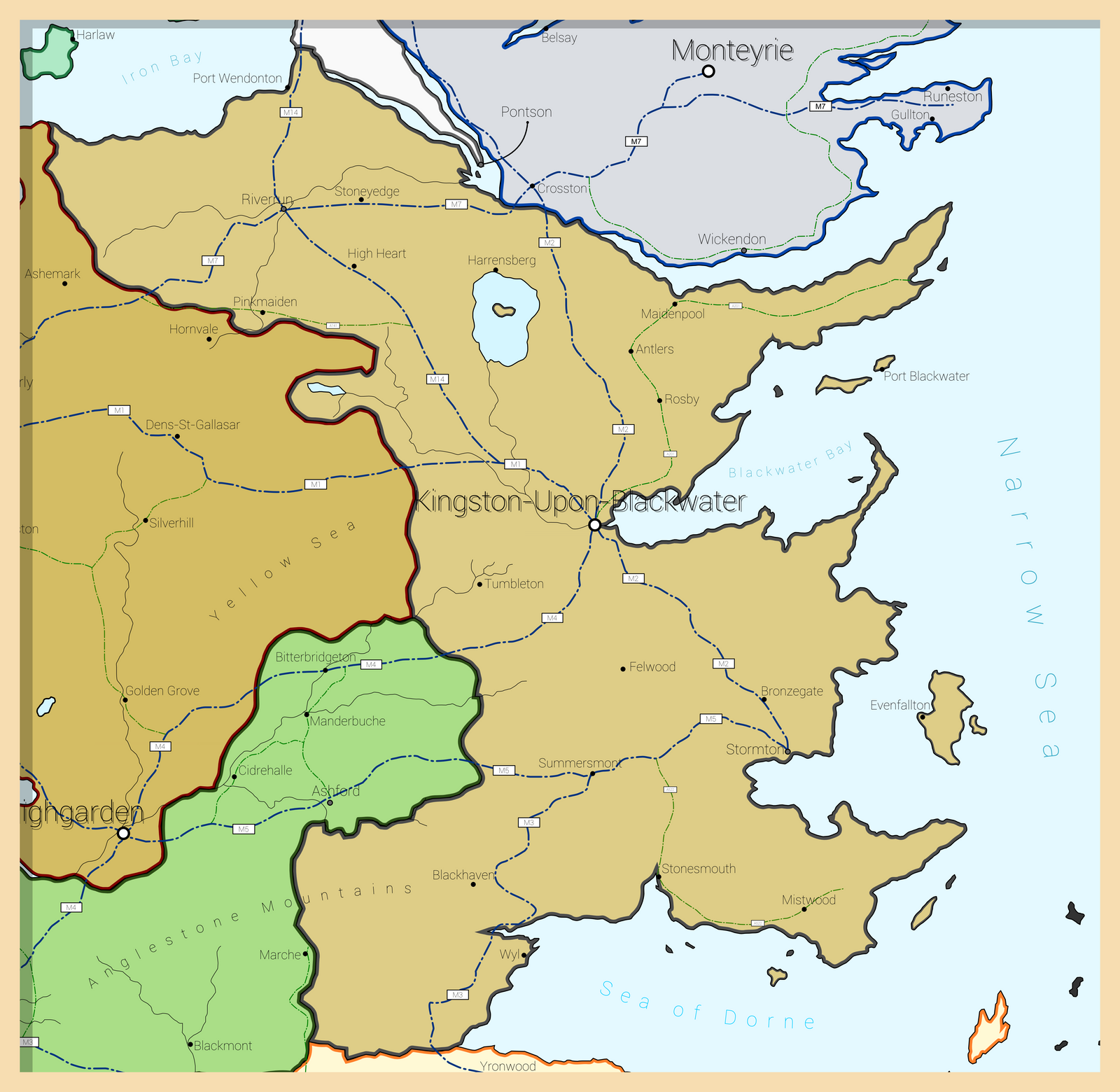 Map of the United Kingdom of Westeros Modern GoT by Maonsie on