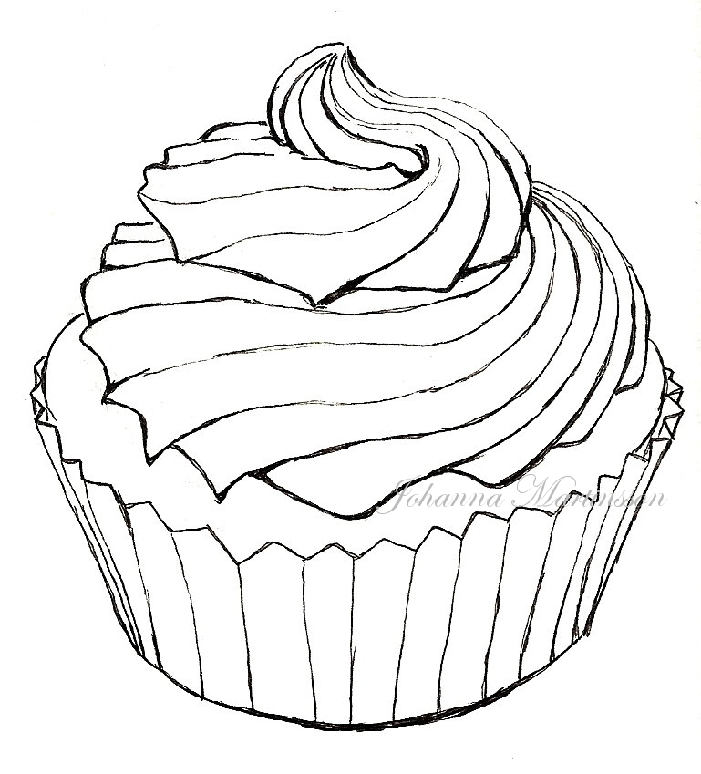 Line Drawing Cake : Cupcake lineart by skrattanfall on deviantart