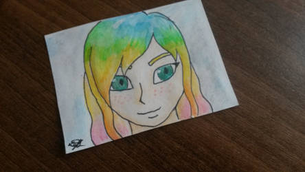 [ACEO] Rainbow lady
