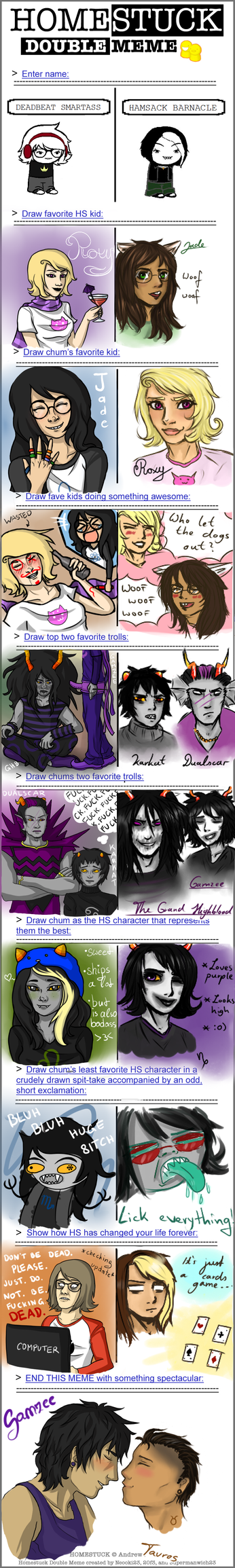Homestuck double meme with nyxares by Lapruccia