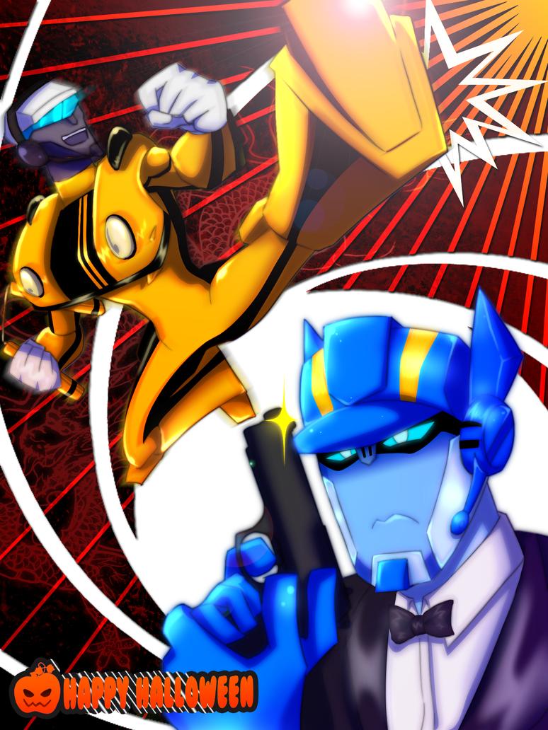 [Pro Art et Fan Art] Artistes à découvrir: Séries Animé Transformers, Films Transformers et non TF - Page 6 Tfa_lee_vs__bond_by_yumisato-d4e6k8k