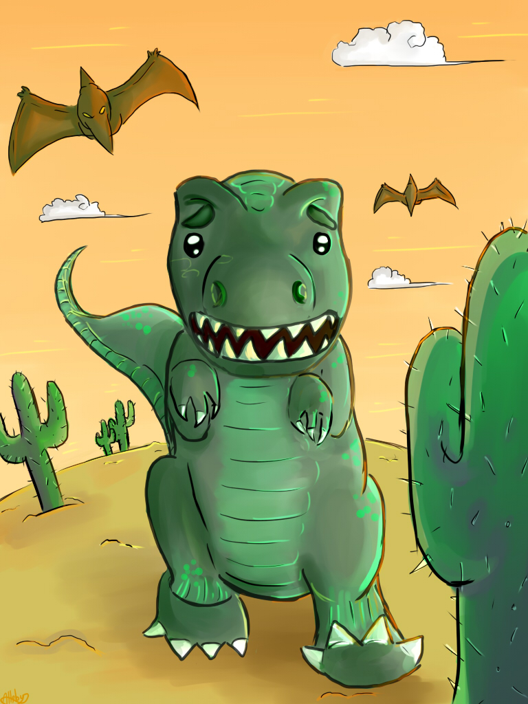 Rex VS the Cactus by Alleby