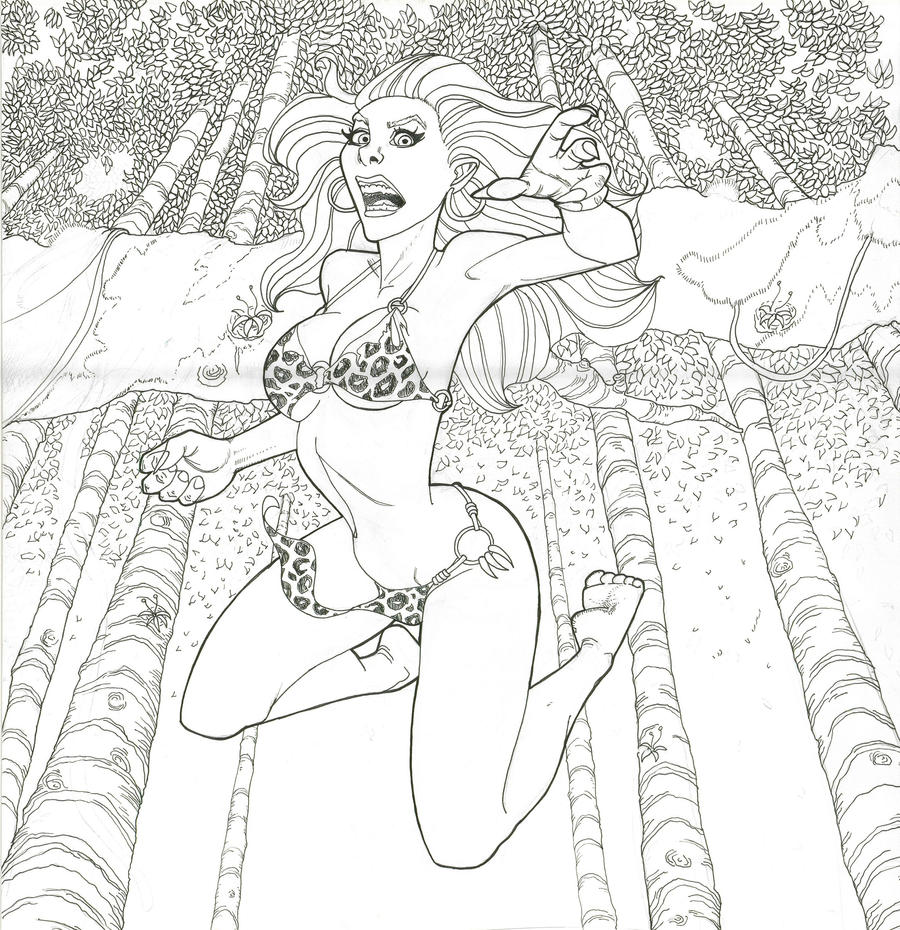 Line Drawing Jungle : New jungle girl line art by easyt on deviantart