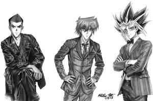 Commission for Kamilah: Men of Yugioh as Dr. Who