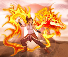 Korra: A Collaboration with Pyro Painter by Yamigirl21