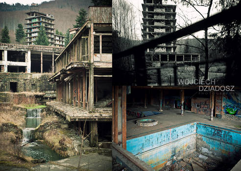 Abandoned complex of leisure-recreation houses
