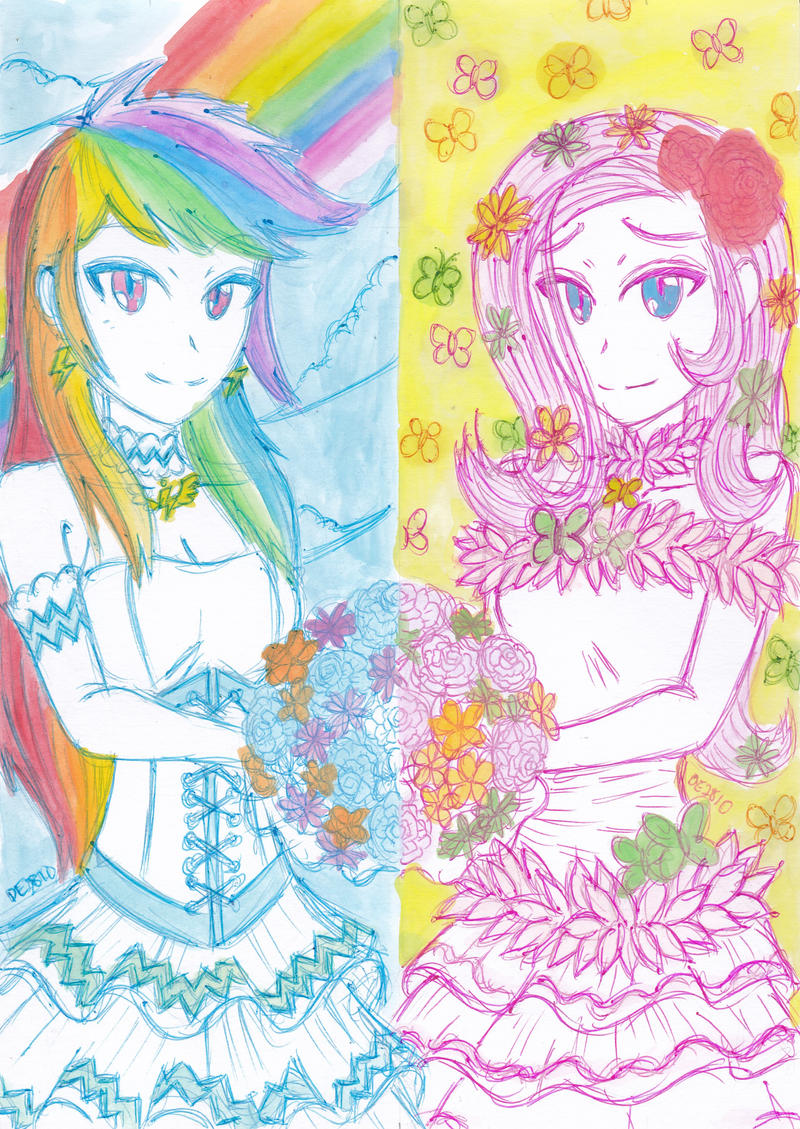 Bridal rainbow dash and fluttershy by dragonemperror2810 for Rainbow wedding dress say yes to the dress
