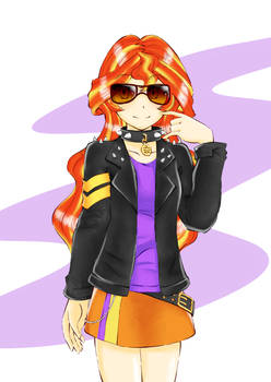 Leather Jacket Sunset Shimmer