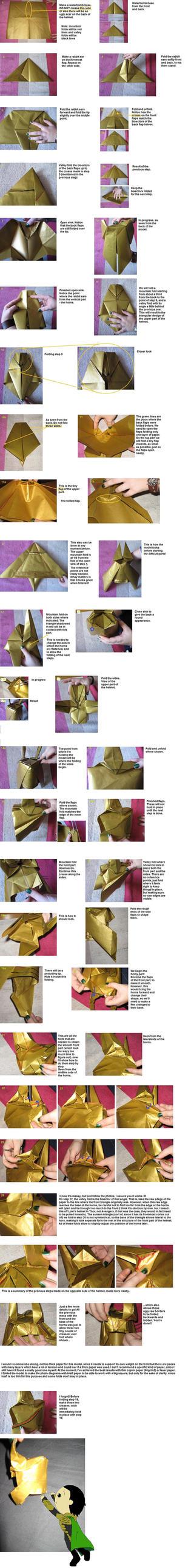Loki origami helmet diagrams by WindMermaid