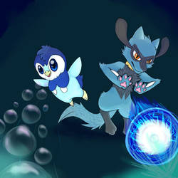 Piplup and Riolu -for Imawsum by ShiftingUniverse