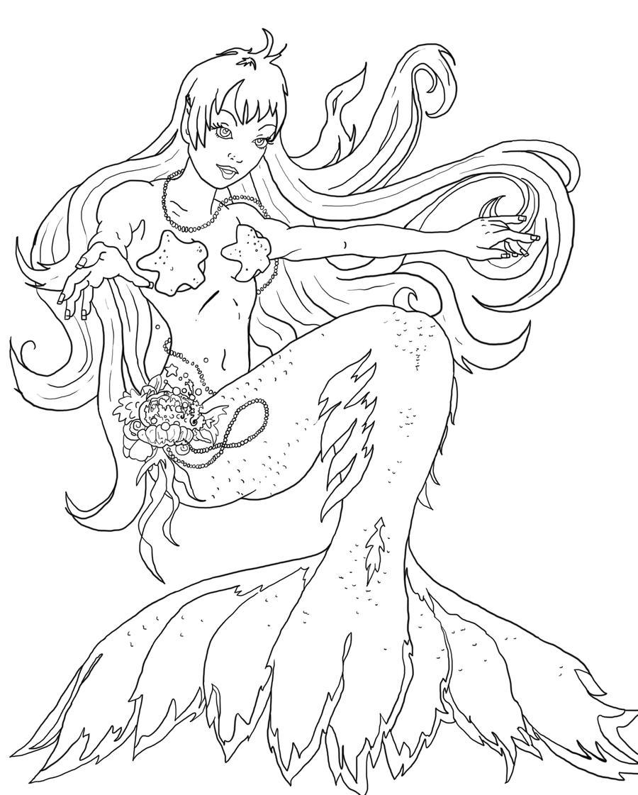 mermaid coloring page by callmefargone on deviantart
