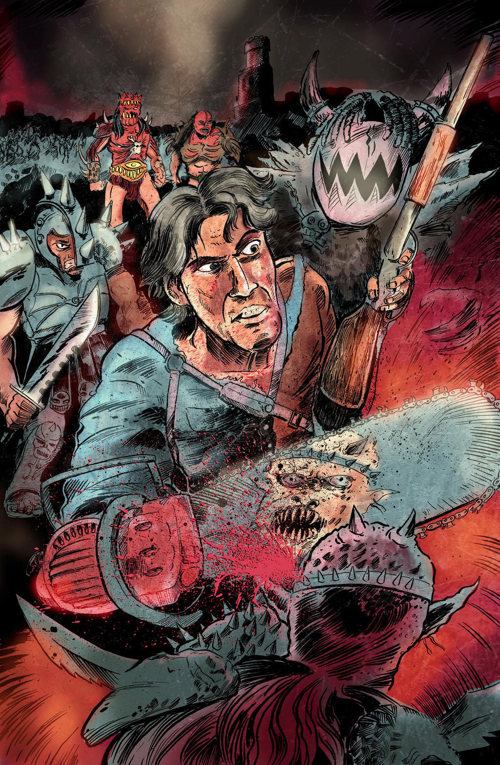 Ash Vs. The Army of Gwar by strawmancomics