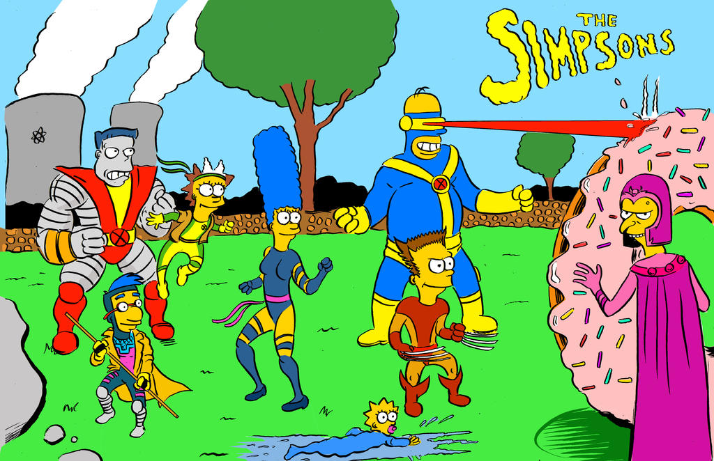 The Simpsons Xmen by strawmancomics