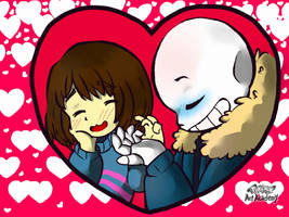 Sans x Frisk Valentine! by pokejustine001