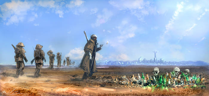 Fallout New Vegas fan art- NCR Patrol by BoxofLizards