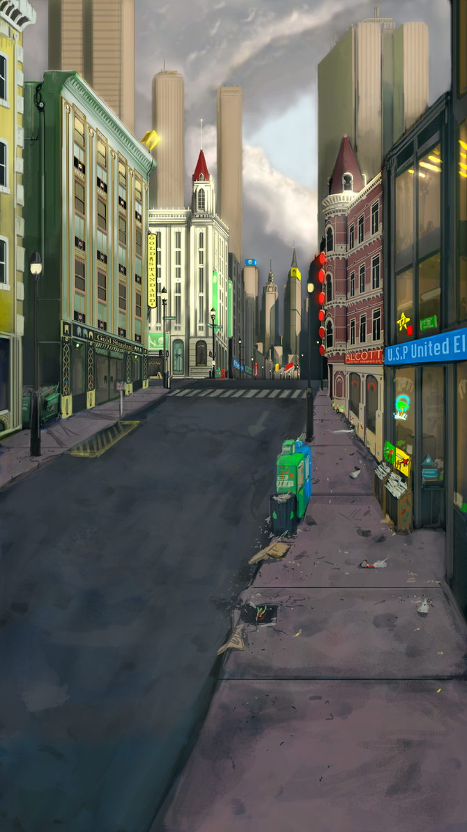 Commission- City Street Re-upload by BoxofLizards