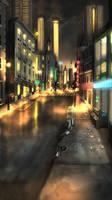 Commission- City Street Night Re-upload