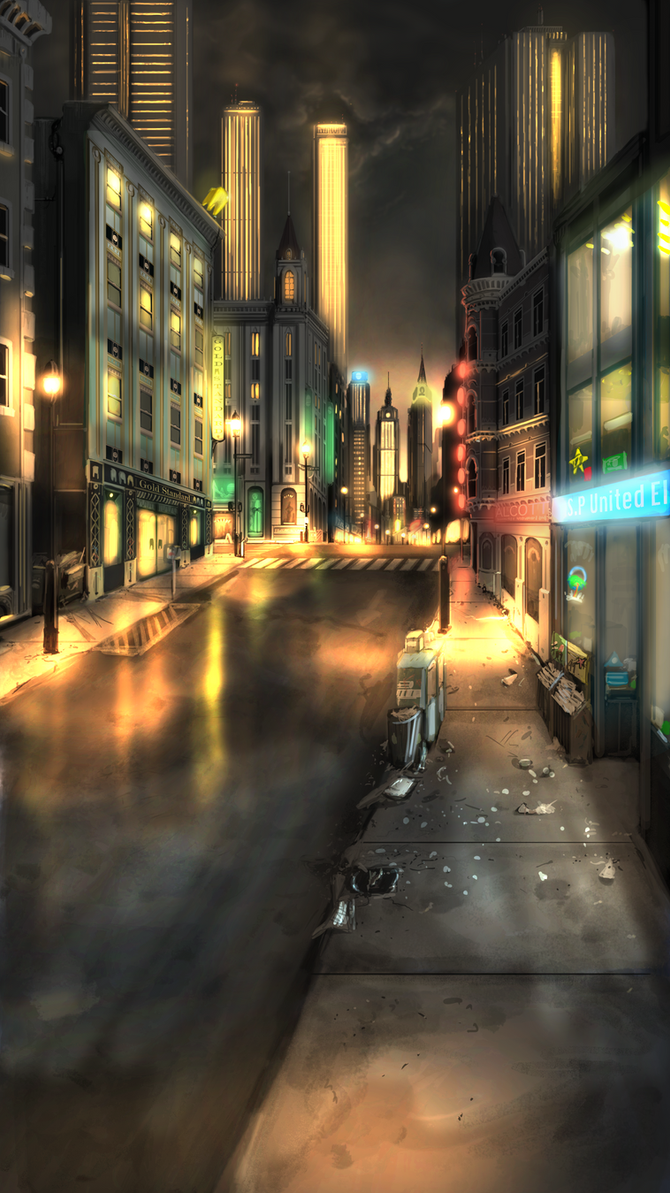 Commission- City Street Night Re-upload by BoxofLizards