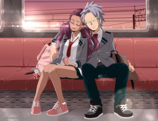 [BNHA_OC] Kirara and Tetsutetsu by Aneko-tyan