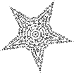 Star Built out of Glyph Text - Dscript word art by dscript