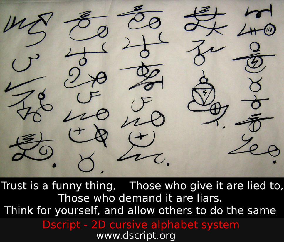 Trust is a funny thing constructed script art by dscript Script art