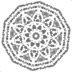 Starburst Circle - free constructed script art by dscript
