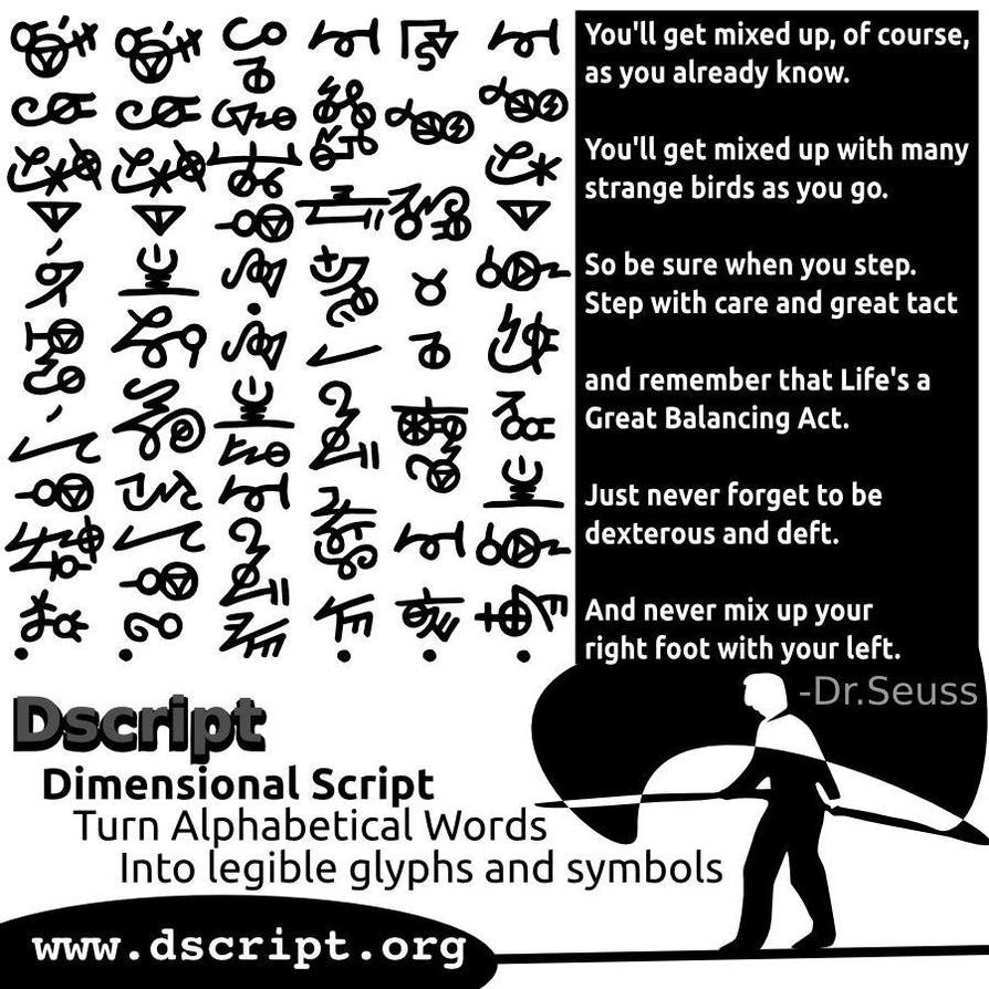 Dr seuss quote in dscript non linear script text by Script art