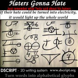 Tesla Quote - Hate into Electricity - Dscript Art by dscript