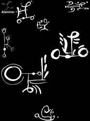 Alanine - Chemistry Calligraphy - Amino Acid Art by dscript