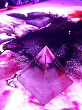 Crystal pyramid on watery landscape - free stock