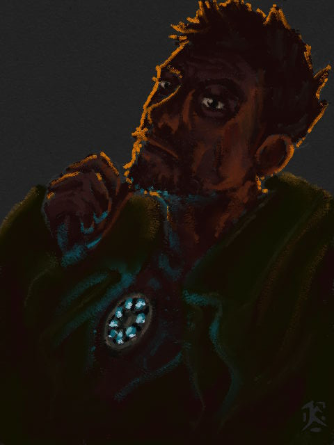 Stark hunches under a blanket older than both of them, firelight limning the side of his face and outlining his hair. His hand is up like he was scratching his chin and got struck by a thought. He looks exhausted, but not ready to be quiet yet.